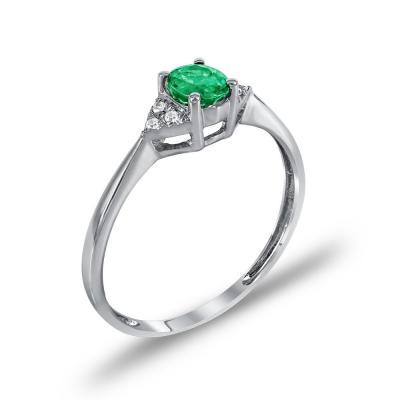Μονόπετρο Δαχτυλίδι Με Σμαράγδι Και Διαμάντια Brilliant Κ18 DDX243