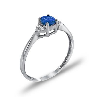 Μονόπετρο Δαχτυλίδι Με Ζαφείρι Και Διαμάντια Brilliant Κ18 DDX244