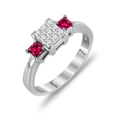 Μονόπετρο Δαχτυλίδι Με Ρουμπίνι Και Διαμάντια Brilliant Από Λευκόχρυσο Κ18 DDX248