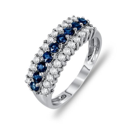 Μισόβερο Δαχτυλίδι Με Ζαφείρι Και Διαμάντια Brilliant Aπό Λευκόχρυσο Κ18 D16139