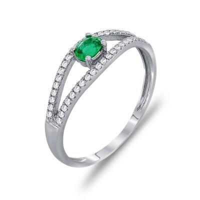 Μονόπετρο Δαχτυλίδι Με Σμαράγδι Και Διαμάντια Brilliant Κ18 DDX247