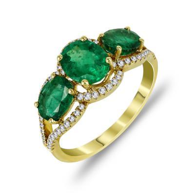 Μοντέρνο Δαχτυλίδι Με Σμαράγδι Και Διαμάντια Brilliant Aπό Κίτρινο Χρυσό K18 D053077