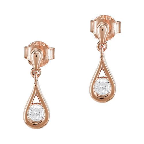 Σκουλαρίκια Δάκρυ Από Ροζ Χρυσό Κ9 SK907