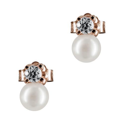 Σκουλαρίκια Με Μαργαριτάρι Από Ροζ Χρυσό Κ14 SK891