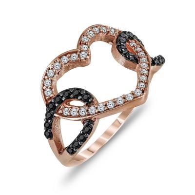 Δαχτυλίδι Καρδούλα Από Ροζ Χρυσό K9 DX769