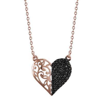 Κολιέ Καρδιά Από Ροζ Χρυσό Κ9 KL784