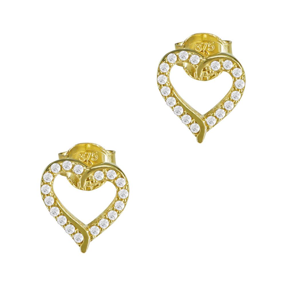 Σκουλαρίκια Καρδούλα Από Kίτρινο Χρυσό Κ9 SK908