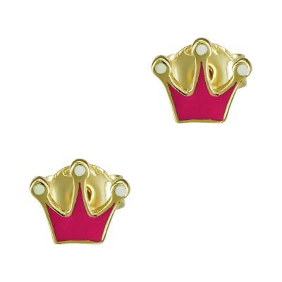 Παιδικά Σκουλαρίκια Κορώνα Από Κίτρινο Χρυσό Κ9 PSK410