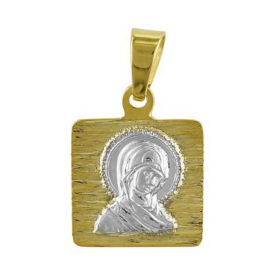 Φυλαχτό με την Παναγίτσα Aπό Δίχρωμο Χρυσό K9 PA506
