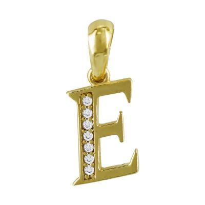 """Μονόγραμμα Μενταγιόν """"Ε"""" Από Κίτρινο Χρυσό Κ9 MG196"""