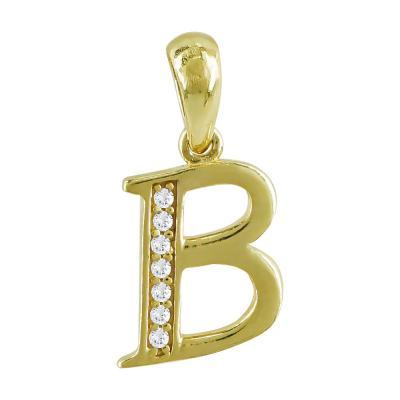"""Μονόγραμμα Μενταγιόν """"B"""" Από Κίτρινο Χρυσό Κ9 MG194"""