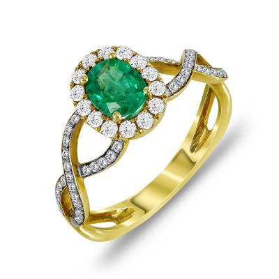 Μονόπετρο Δαχτυλίδι Ροζέτα Με Σμαράγδι Και Διαμάντια Brilliant Aπό Κίτρινο Χρυσό Κ18 D53074