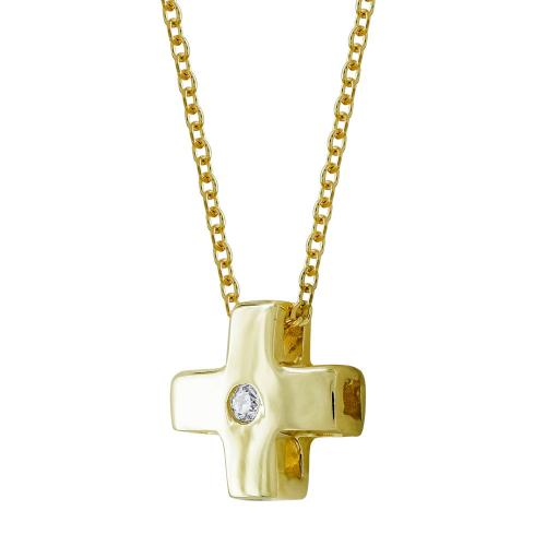 Σταυρουδάκι Μενταγιόν Από Κίτρινο Χρυσό Κ14 STM399