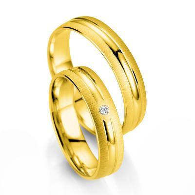Κίτρινη Χρυσή Βέρα Γάμου Breuning με ή χωρίς Πέτρες WR334
