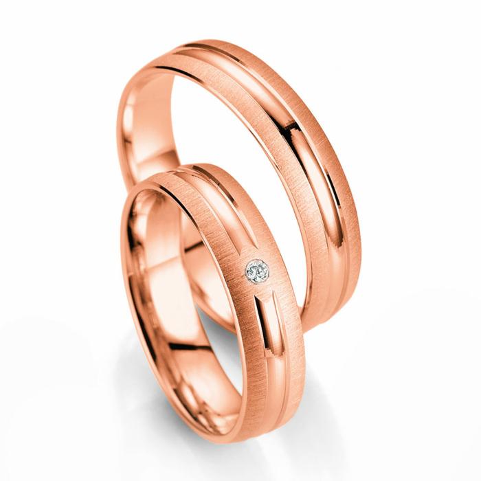 Ροζ Χρυσή Βέρα Γάμου Breuning με ή χωρίς Πέτρες WR334R
