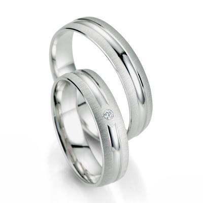 Λευκόχρυση Βέρα Γάμου Breuning με ή χωρίς Πέτρες WR334W