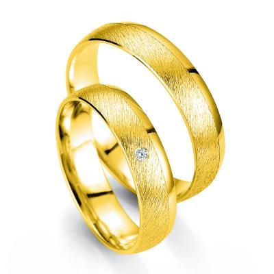 Κίτρινη Χρυσή Βέρα Γάμου Breuning με ή χωρίς Πέτρες WR335