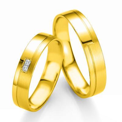 Κίτρινη Χρυσή Βέρα Γάμου Breuning με ή χωρίς Πέτρες WR336