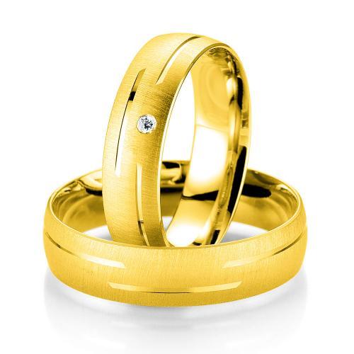 Κίτρινη Χρυσή Βέρα Γάμου Breuning με ή χωρίς Πέτρες WR337