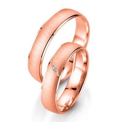 Ροζ Χρυσή Βέρα Γάμου Breuning με ή χωρίς Πέτρες WR338R