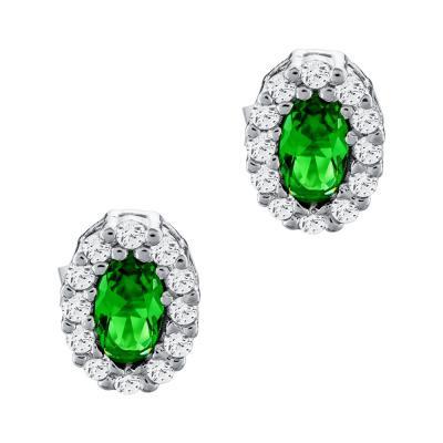 Σκουλαρίκια Ροζέτα Με Πράσινη Πέτρα Από Ασήμι SK965