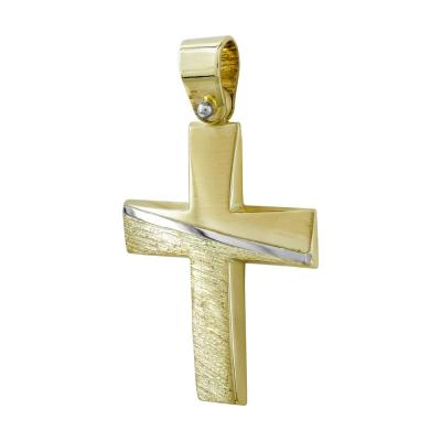 Σταυρός Βάπτισης Αντρικός Σε Δίχρωμο Χρυσό 14 Καρατίων ST96897