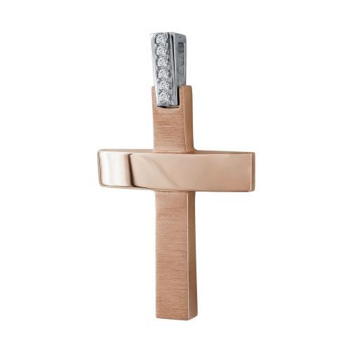 Σταυρός Βάπτισης Γυναικείος Σε Δίχρωμο Χρυσό 14 Καρατίων Mε Πέτρες ST03021