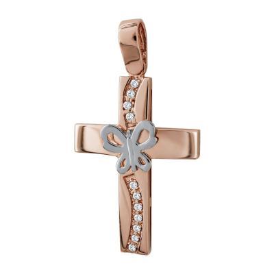 Σταυρός Βάπτισης Γυναικείος Σε Δίχρωμο Χρυσό 14 Καρατίων Mε Πέτρες ST72409