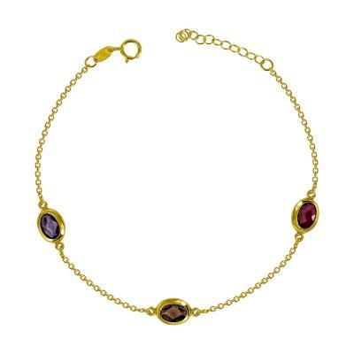 Βραχιόλι Με Πολύχρωμες Πέτρες Από Επιχρυσωμένο Ασήμι VR615