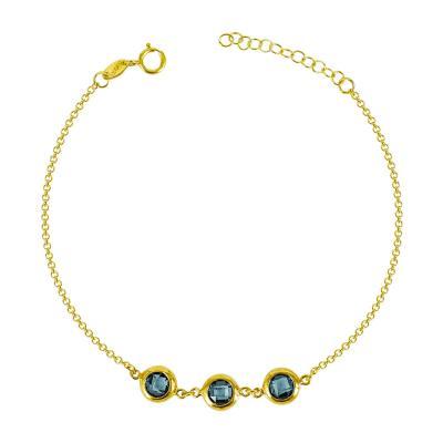 Βραχιόλι Με Γαλάζιες Πέτρες Από Επιχρυσωμένο Ασήμι VR618