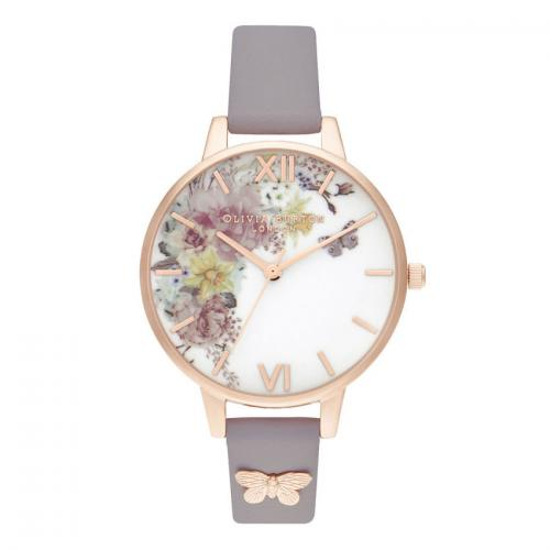 OLIVIA BURTON Enchanted Garden Demi Grey Lilac & Rose Gold OB16EG129