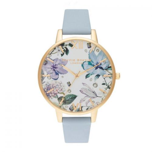 OLIVIA BURTON Bejewelled Florals Big Dial Chalk Blue & Gold OB16BF21