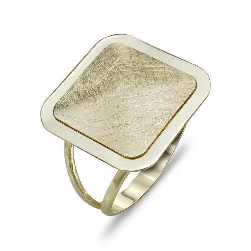 Δαχτυλίδι Τετράγωνο Από Κίτρινο Χρυσό Κ14 DX787