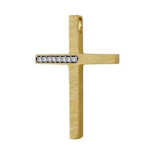 Σταυρός Βάπτισης Γυναικείος Σε Κίτρινο Χρυσό 14 Καρατίων Με Πέτρες ST01478