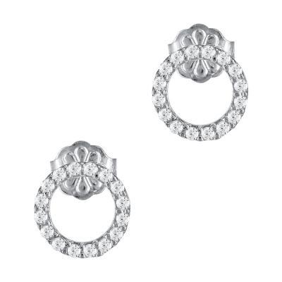 Σκουλαρίκια Κύκλοι Από Λευκόχρυσο Κ14 SK921