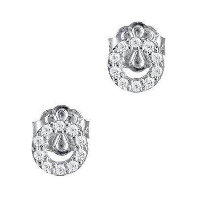 Σκουλαρίκια Κύκλοι Από Λευκόχρυσο Κ14 SK923