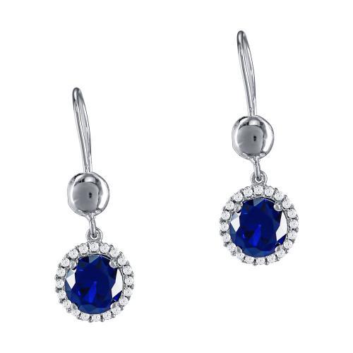 Σκουλαρίκια Με Μπλε Πέτρες Από Λευκόχρυσο Κ14 SK911