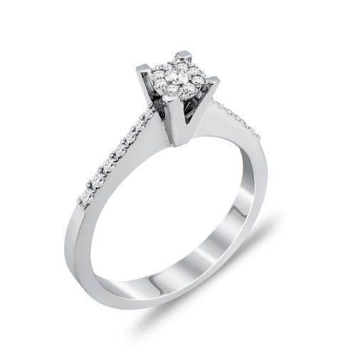 Mονόπετρο Δαχτυλίδι Με Διαμάντια Brilliant Aπό Λευκόχρυσο Κ18 DDX269