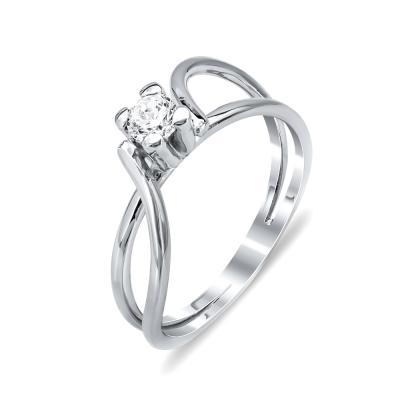 Δαχτυλίδι Μονόπετρο Από Λευκόχρυσο Κ14 DX788