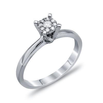 Mονόπετρο Δαχτυλίδι Με Διαμάντια Brilliant Aπό Λευκόχρυσο Κ18 DDX256