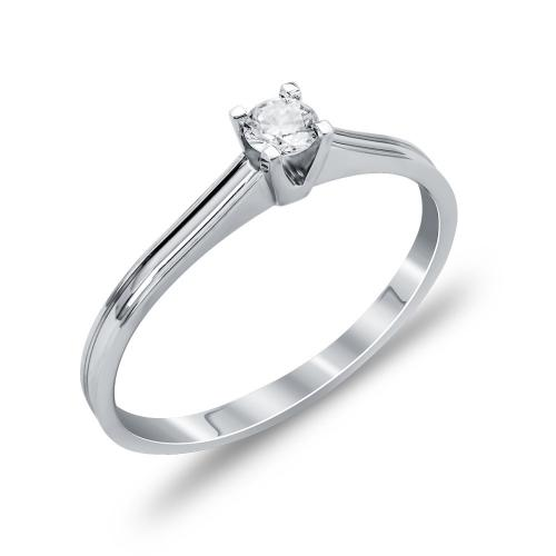 Mονόπετρο Δαχτυλίδι Με Διαμάντια Brilliant Aπό Λευκόχρυσο Κ18 DDX265