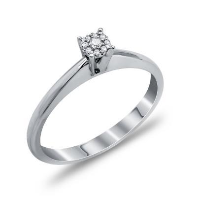 Mονόπετρο Δαχτυλίδι Με Διαμάντια Brilliant Aπό Λευκόχρυσο Κ18 DDX260