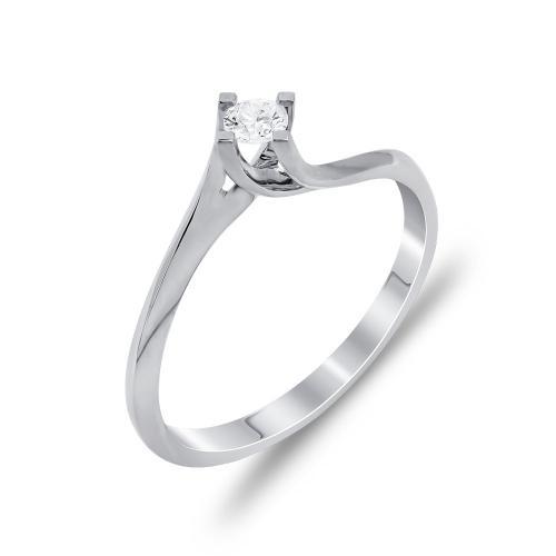 Mονόπετρο Δαχτυλίδι Με Διαμάντια Brilliant Aπό Λευκόχρυσο Κ18 DDX263