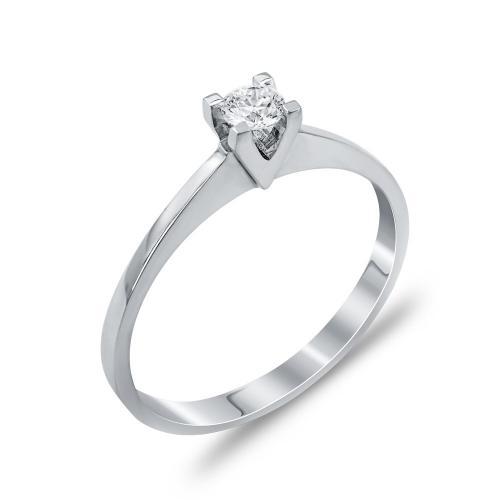 Mονόπετρο Δαχτυλίδι Με Διαμάντια Brilliant Aπό Λευκόχρυσο Κ18 DDX264