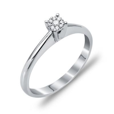 Mονόπετρο Δαχτυλίδι Με Διαμάντια Brilliant Aπό Λευκόχρυσο Κ18 DDX258