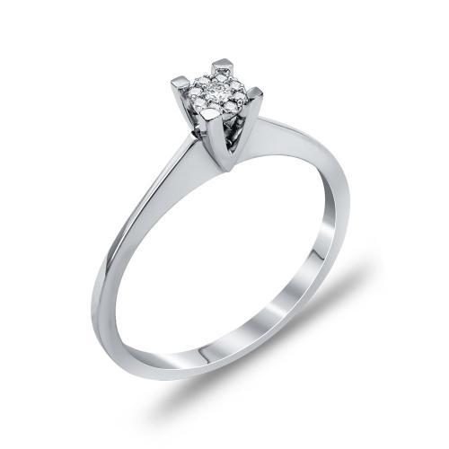 Mονόπετρο Δαχτυλίδι Με Διαμάντια Brilliant Aπό Λευκόχρυσο Κ18 DDX259