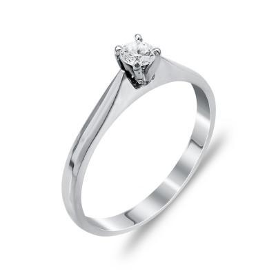 Mονόπετρο Δαχτυλίδι Με Διαμάντια Brilliant Aπό Λευκόχρυσο Κ18 DDX268
