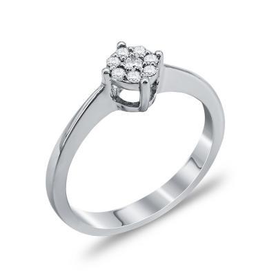 Mονόπετρο Δαχτυλίδι Με Διαμάντια Brilliant Aπό Λευκόχρυσο Κ18 DDX257