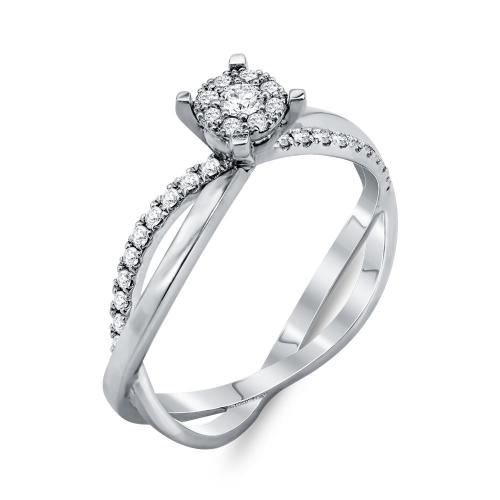 Mονόπετρο Δαχτυλίδι Με Διαμάντια Brilliant Aπό Λευκόχρυσο Κ18 DDX262
