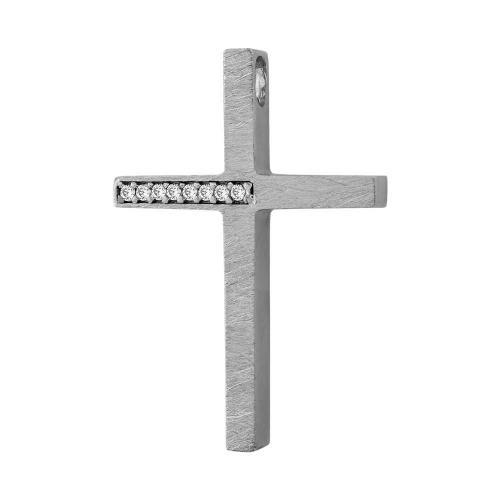 Σταυρός Βάπτισης Γυναικείος Σε Λευκόχρυσο 14 Καρατίων Mε Πέτρες ST01479